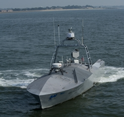 110720-N-ZZ999-038 FORT MONROE, Va. (July 20, 2011) A common unmanned surface vehicle patrols for intruders during Trident Warrior 2011. The experimental boat can operate autonomously or by remote. The Trident Warrior experiment, directed by U.S. Fleet Forces Command, temporarily deploys advanced capabilities on ships to collect real-world data and feedback during an underway experimentation period. (U.S. Navy photo by Mass Communication Specialist Seaman Scott Youngblood/Released)
